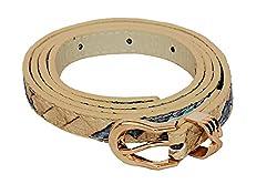 SRI Womens Causal Textured Waist Belt - Beige Blue