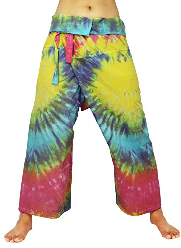 Design By Jingle Men & Women Hand Tie Dye Fisherman Wrap Pants Wide Leg Yoga Pants (LL-Rainbow) (Hand Fan With Camo Print compare prices)