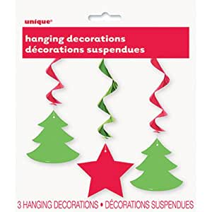 Christmas Hanging Swirl Decorations - Party Supplies - 3 per pack