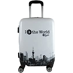 TROLLEY IDONEO EASYJET RYANAIR ABS RIGIDO LUCIDO 8 RUOTE Bagaglio a mano cabina idoneo low cost world