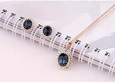 La Vivacita Leaf Jewellery Set with Sapphire Swarovski crystals 18ct Gold plated quality Gift for Women