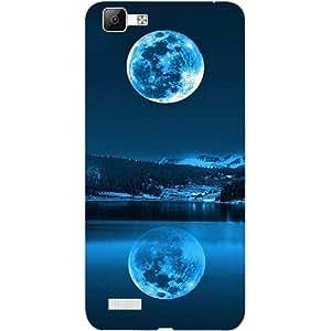 Casotec Moon Pattern Print Design 3D Printed Back Case Cover for Vivo V1
