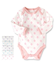 5 Pack Pure Cotton Spotted Bodysuits