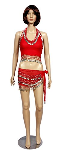 A 2pc Set of Red Costumes for Halter Bra Choli Hip Wrap Scarf Belly Dance Costume