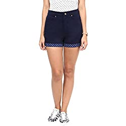 Hypernation Dark Blue Color Cotton Shorts For Women