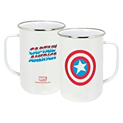 ICUP Marvel Captain America Icon Enamelware Mug, 20 oz, Clear