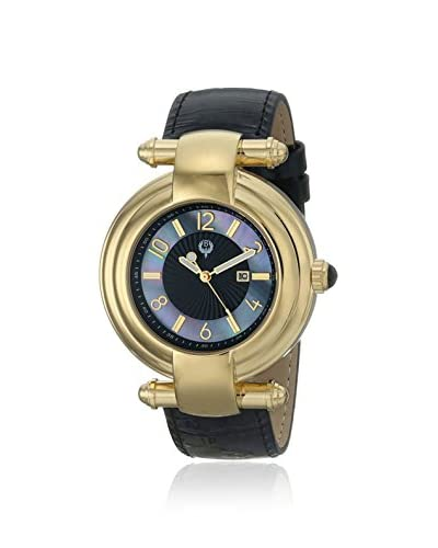 Brillier Women's 31-01 Klassique Mother-of-Pearl Gold/Black Leather Watch