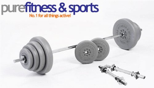 Purefitness 50kg Vinyl Standard Weights Set With 5ft Barbell & Free Dumbell Bars! Collars Included