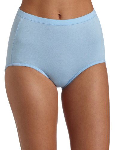 Bali Women's 3-pack Fit Your Curves Cotton Stretch Brief Panties, White/Blue/Blue Stripe ,Large