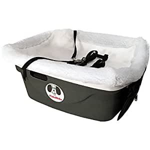 1 Seater Dog Car Seat Finish: Gray, Lining Color: Sherpa White, Harness Size: Small