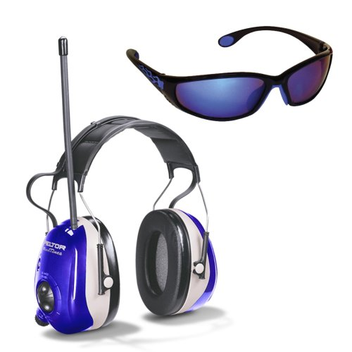 3M Ao Safety/3M Tekk 90576 Racetunes Am/Fm Hearing Protector With Saftey Glasses, Purple And Silver