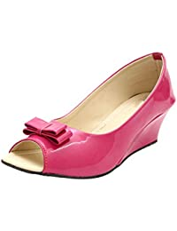 ROCKSY Women's Pink Peeptoed Wedge Bellerinas