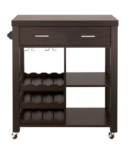 Iohomes Classic 2 Drawer Home Kitchen Cart With Wheels Cappuccino Furniture Carts Islands