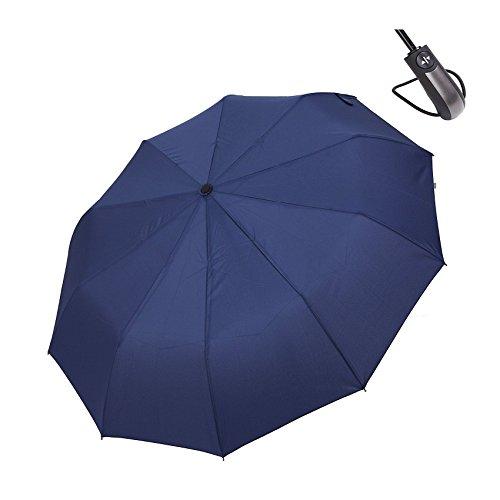"""HiViolet Ombrello Pieghevoli Antivento,Compatto Antivento per Esterno da Viaggio,10 Stecche Rinforzate Automatico Apri e Chiudi per Permetterne l'uso con una Sola Mano ,42"""" Canopy 210T Fabric (blu)"""