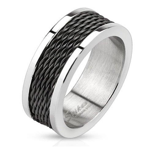 Paula & anello in acciaio chirurgico Fritz 316L argentata con bordo e interno cuff-daddy catene disponibili 61 (19) anello misure - 69 (22) R-M0036-8, Acciaio inossidabile, 21, cod. R-M0036-8-10
