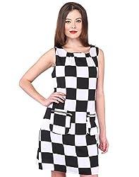 Purys Women's Shift Dress (E-150651SP-3077_White Black_S)