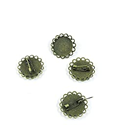 70 PCS Jewelry Making Charms Findings Supply Supplies Crafting Lots Bulk Wholesale Antique Bronze Tone Plated G7DZ9 Round Cabochon Setting Frame Brooch