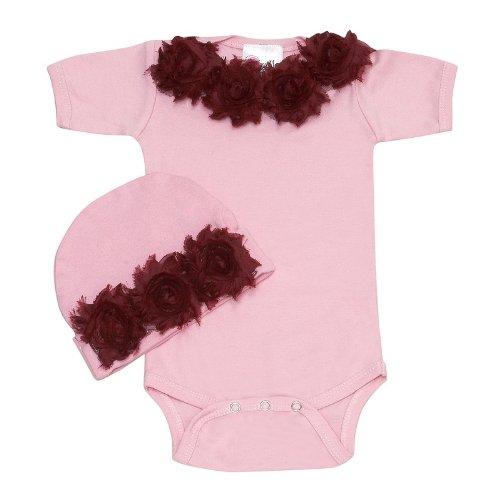 Lollipop Moon Shabby Chic Bordo Baby Romper Set front-915133
