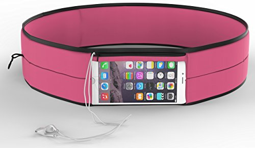 Sports Belt with Touchscreen Phone Case for Women and Men - Fits iPhone 6 / 7 and Most Phones - More Lightweight, Snug, and Stylish than Fanny Pack - Holder for Keys, Cards, Cash (Pink, Large)