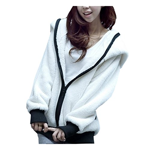 CA Fashion Women's Panda Ear Tail Zip Up Hoodie Outerwear Sweat White Medium (Ca Hoodie compare prices)