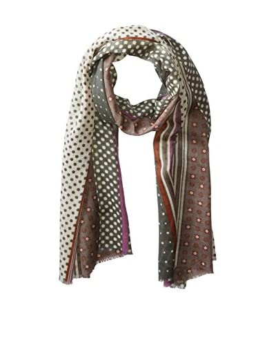 Saachi Women's Dots and Stripes Scarf, Brown