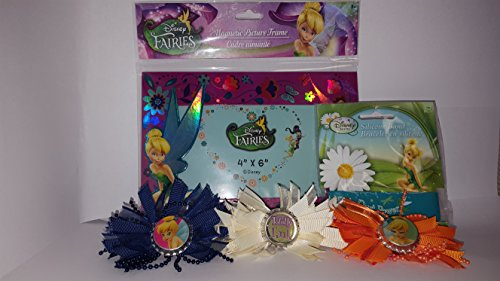 Tinkerbell Gift Set: Magnetic Picture Frame (4x6), Silicone Band Bracelet & 3 Hair bows (Navy, Cream & Orange) (Peter Pan Hair Bow compare prices)