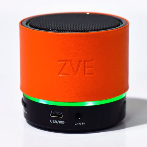 Zve Mini Portable Leather Bluetooth Wireless Speaker With Subwoofer Build-In Microphone Rechargeable Battery Stereo Sound Speakphone (Orange)
