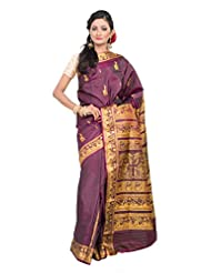 Buddha And Beyond Purple Baluchari Saree With Blouse Piece