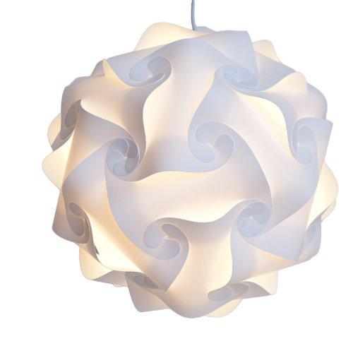 Lamp Puzzle Ombra - Puzzle lightshade - ombra Jigsaw IQ Light - Lampada da soffitto Ombra - Illuminazione pendente moderna - Flat Pack Auto-assemblato. (Medium, Bianco)