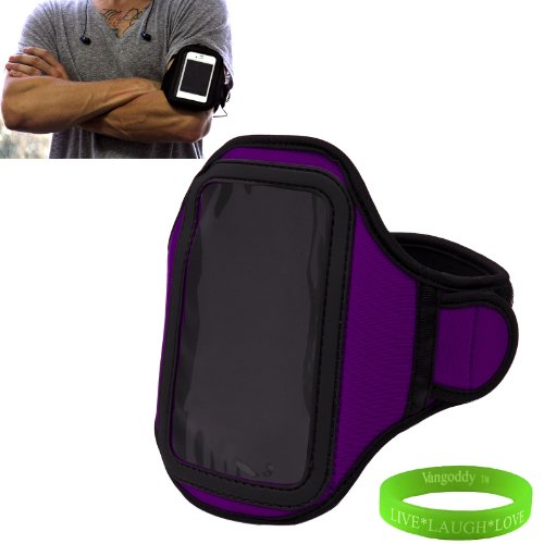 Purple Neoprene Armband W/ Sweat Resistant Lining & Key Holder For Lg Google Nexus 5 & 4 Android