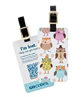 GoCodes® Smart QR Bar Code Luggage Tag - Kids Owls One Size