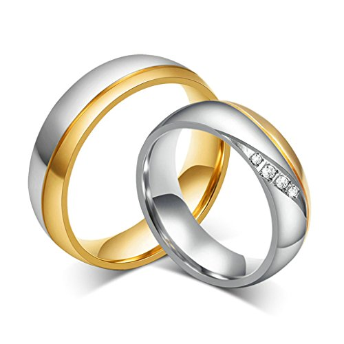 Daesar Donna Banda Acciaio Inossidabile Anello Argento Oro Anelli Per Coppie Dimensioni:10