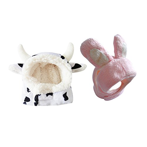 2-pcs-combo-Black-White-Cow-Pink-Bunny-Pet-Hat-for-Cats-Small-Dogs-Funny-Pet-Cosplay-Costume-with-Stuffed-Ears