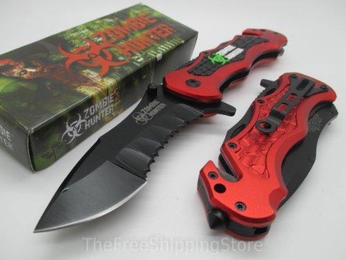 Z-Hunter Red Tactical Rescue Quick Open Pocket Design Folding Knife Collector Serries