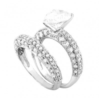 .925 Sterling Silver Wedding Ring Set, Crafted with Top Quality Diamond Color Round Cut Cubic Zirconia, Center Stone in Exquisite Three-Prong Setting, Limited Time Sale Price Offer, Comes with a Free Gift Box and Special Pouch