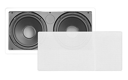 Pyle Pdiws28 Dual 8- Inch In-Wall / In-Ceiling High-Power Subwoofer Speaker System, Dual Voice Coil, Flush Mount, White