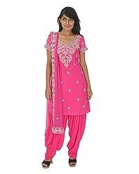 Gurpreet Kaur Women Crepe Chiffon Dress (D012, Pink, 40)