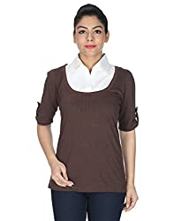 DOPE Casual Roll-up Sleeve Self Design Women's Brown Top (X-Large)