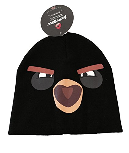 Roxio Angry Birds Big Face Black Angry Bird Knit Beanie Costume Hat
