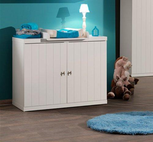 Klassische Wickelkommode Babyzimmer in weiß lackiert Wickeltisch Babytisch