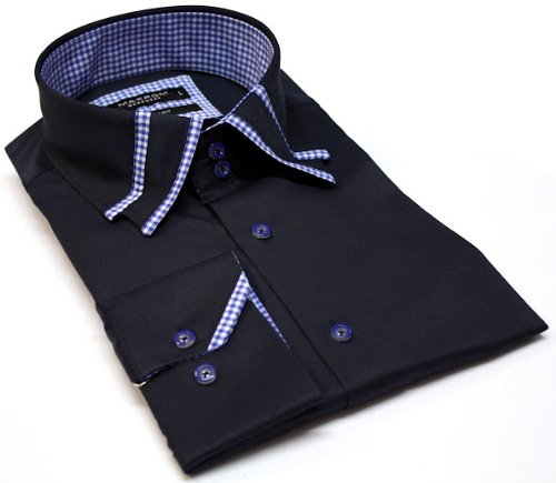 Men's Formal Casual Shirts Designed Collar Navy Colour