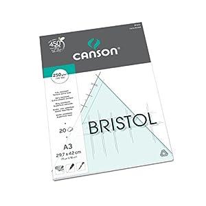Canson Arts graphiques Bristol Papier à dessin A3 29,7 x 42 cm 20 feuilles Extra Blanc