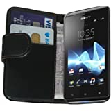 Membrane - Black Wallet Case for Sony Xperia J (ST26a / ST26i) - Flip Phone Cover