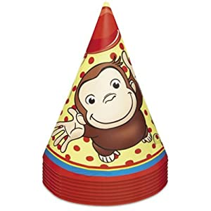 Curious George Cone Hats (8) Party Supplies by Unique Industries, Inc.