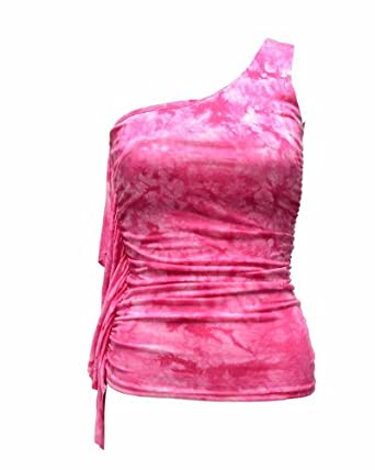 Ladies One Shoulder Tie Dye Top Ruffle Elastic Side Trim
