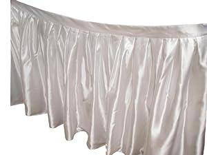 """21 feet x 29"""" Satin Banquet Table Skirt - White"""