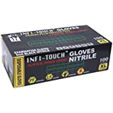 "Infi-touch, Heavy Duty, Black Nitrile Gloves, 9.5"" Length, Powder Free, Hypoallergenic, 6 Mil Thickness, 100 Count - Extra Large"
