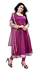 Indian Boutique Purple Color Pure Dhupian TopNet Dupatta with lace work with santoon bottom and inner and mirror worked sleevs