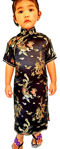 Chinese Big Girls' Minis China Geisha Dress With Dragon Costume And Cosplay 12 Black