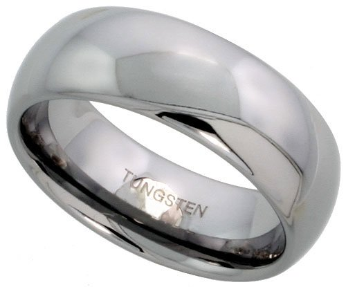 Tungsten 8 mm (5/16 in.) High Polished Comfort Fit Domed Wedding Band Ring (Available in Sizes 5 to 14) size 5